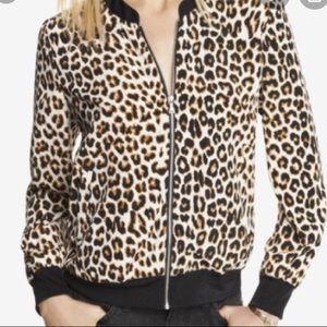 EXPRESS- Leopard Print Zip Up Bomber Jacket